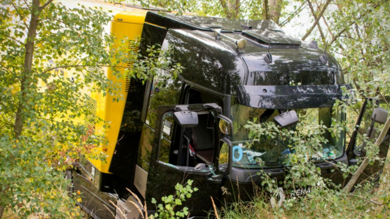 The Renault truck following the accident.