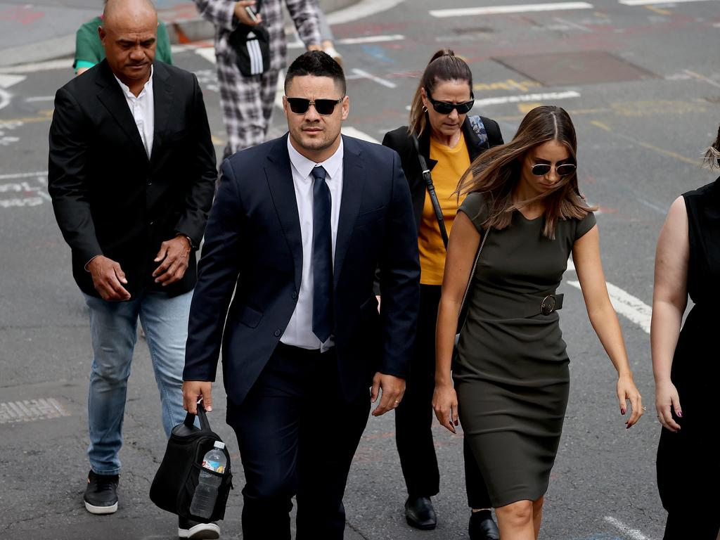 Former NRL superstar Jarryd Hayne and his wife Amelia Bonnici arriving at Downing Centre Court in Sydney. NSW. Picture: NCA NewsWire/Dylan Coker.