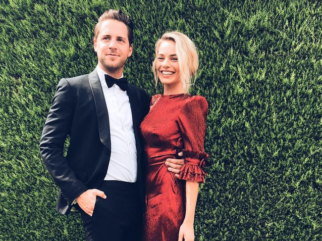 Margot Robbie pictured with husband Tom Ackerley. Picture: Instagram @alpha_meows