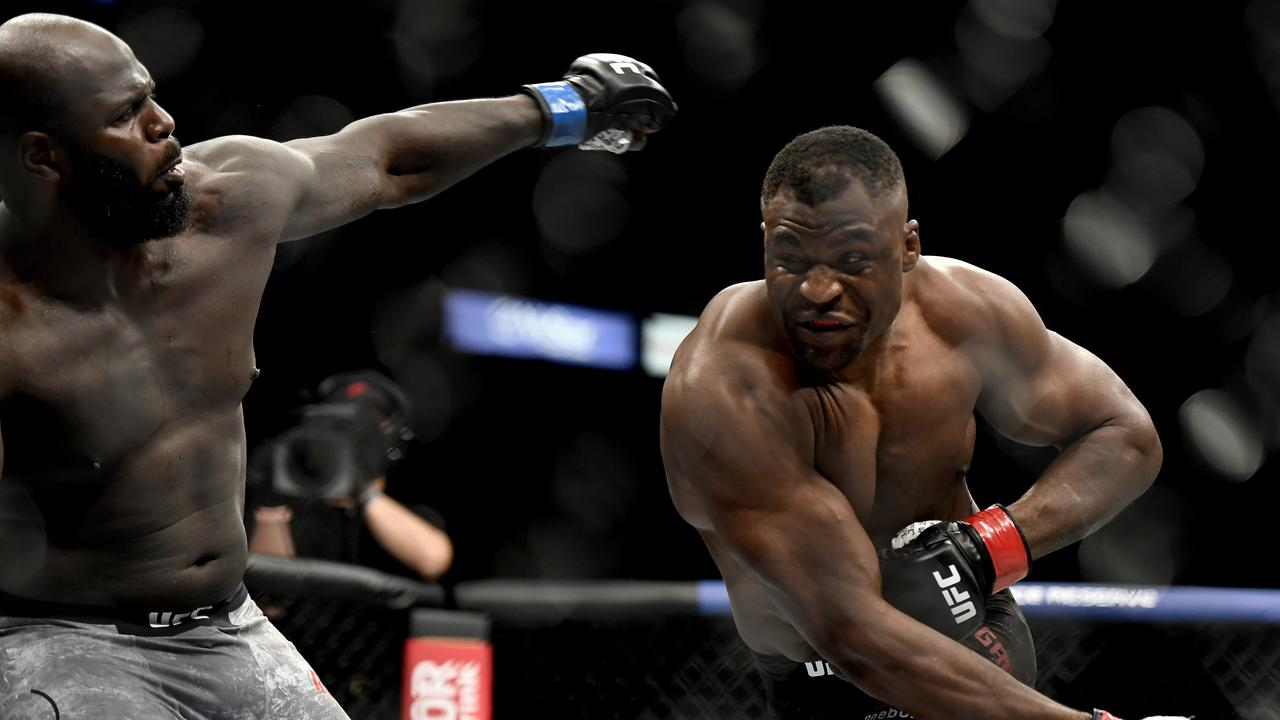 Francis Ngannou of Cameroon misses a punch against Jair Rozenstruik of Suriname