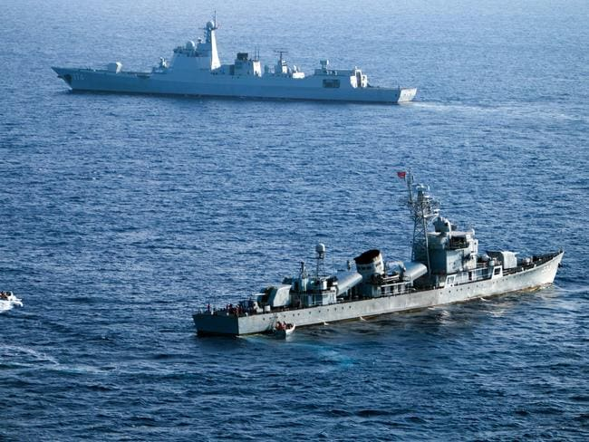 Crew members of China's South Sea Fleet take part in a drill in the Xisha Islands, or the Paracel Islands, in the South China Sea. Picture: AFP