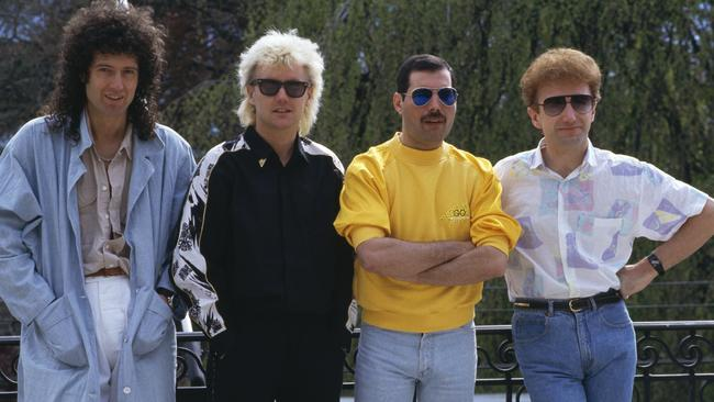 Queen at the Montreux Rock Festival in Switzerland in 1986. Left to right: guitarist Brian May, drummer Roger Taylor, singer Freddie Mercury and bassist John Deacon.
