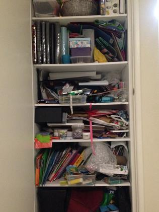 Professional organiser Deanne Sharp took on reporter Julie Cross's 'messy cupboard'.