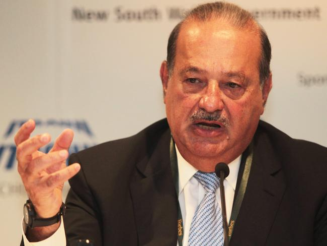 Mexican telco tycoon Carlos Slim Helu at the Forbes Global CEO Conference in Sydney where he received the Malcolm S Forbes Lifetime Achievement Award. Picture: NewsCorp