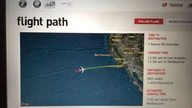 A picture from one of the seat back TV screens on the May 2017 flight showing the aborted flight heading back to LA two hours into the journey to Melbourne.