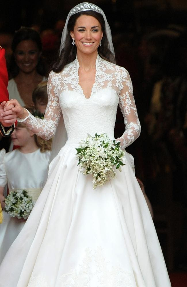 The Duchess of Cambridge, comes out of Westminster Abbey, in her first gown. Picture: AFP