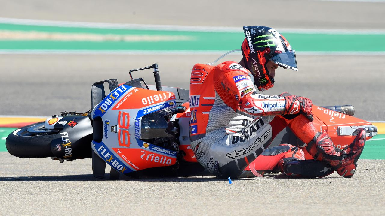 Lorenzo reacts after falling during last year's Aragon race.