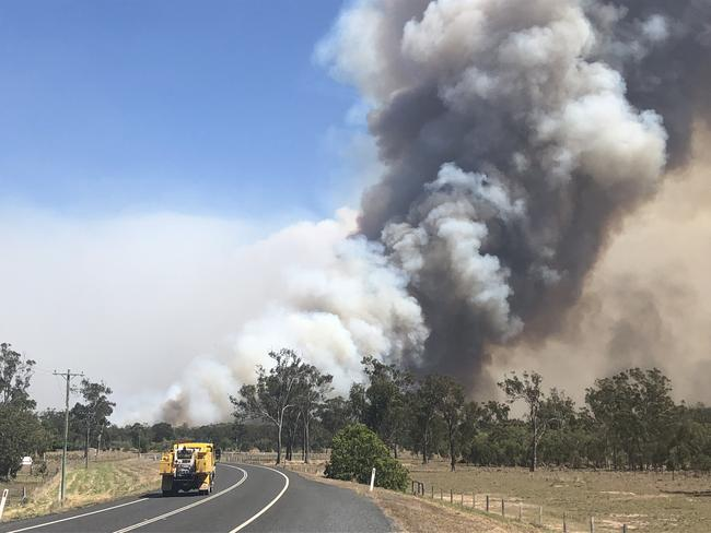 A fast-moving bushfire threatens property at Cobraball Road 9.30am Sunday.