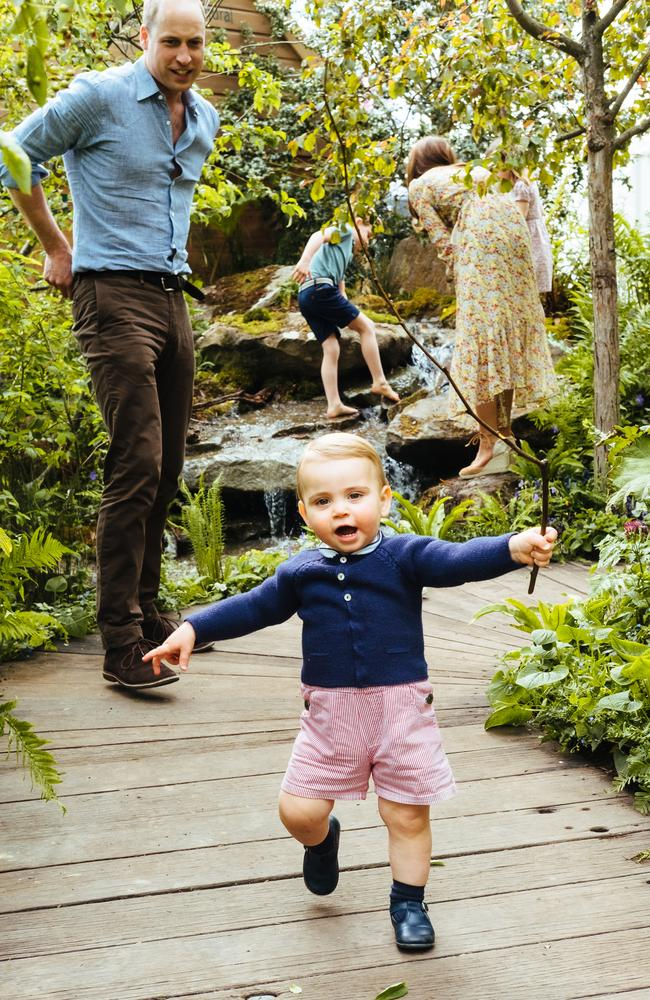 Prince William, Duke of Cambridge and Prince Louis in the Adam White and Andree Davies co-designed garden ahead of the RHS Chelsea Flower Show. Picture: Getty