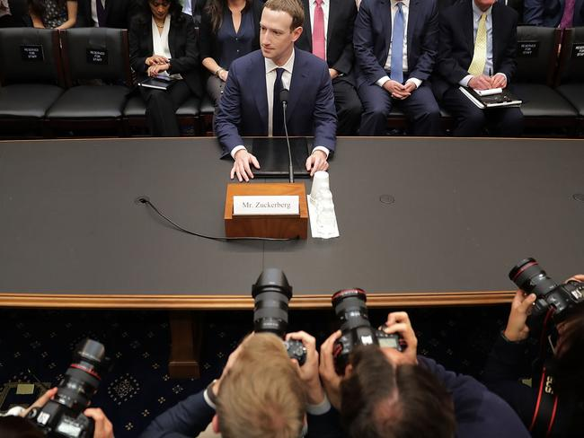Facebook co-founder, Chairman and CEO Mark Zuckerberg prepares to testify before US Congress. Picture: Getty