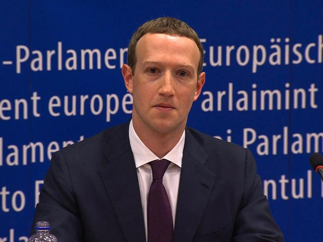 Facebook CEO Mark Zuckerberg during his audition at the European Parliament on the data privacy scandal. Picture: AFP