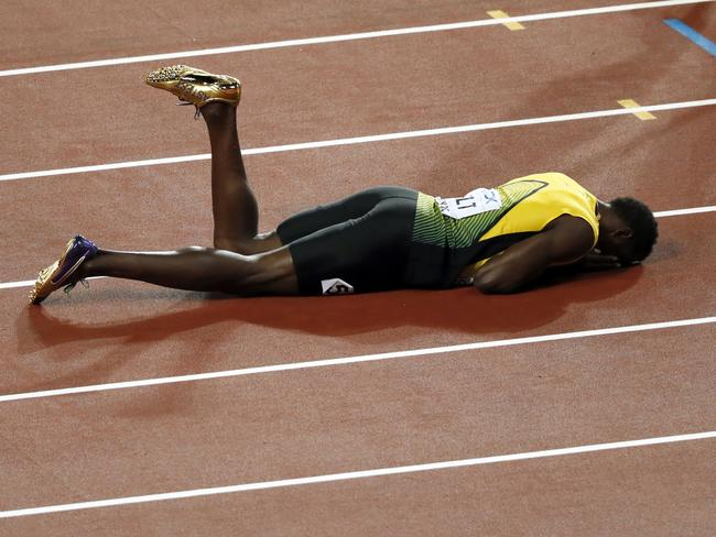 A shattered Bolt lay on the track for some time. Picture: AP