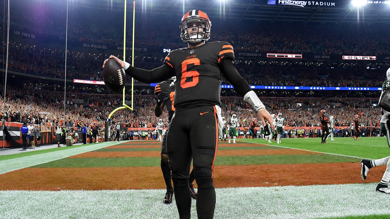 3aebc1e6e Baker Mayfield of the Cleveland Browns celebrates.