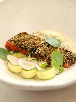 A modern twist to Middle Eastern food — Nour's confit petuna trout. Picture: Richard Dobson