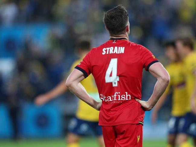 A dejected Ryan Strain after losing to the Central Coast Mariners.