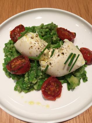 Yum. Time for a Buffalo mozzarella with smashed broad bean salad.