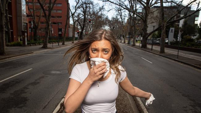 Hayfever sufferer Yasmin Cinelli on Frome Road, home to the London Plane Trees that spark allergies. Picture: Brad Fleet