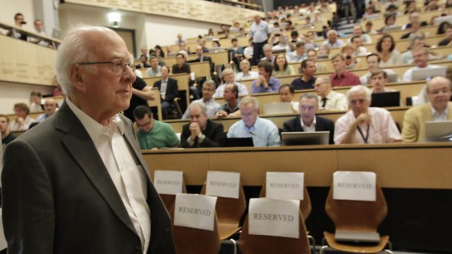 British physicist Peter Higgs arrives for the opening of a seminar to deliver the latest update in the 50-year bid to explain a riddle of fundamental matter in the search for a particle called the Higgs boson at the European Organization for Nuclear Research (CERN) in Meyrin, near Geneva. Picture: AFP