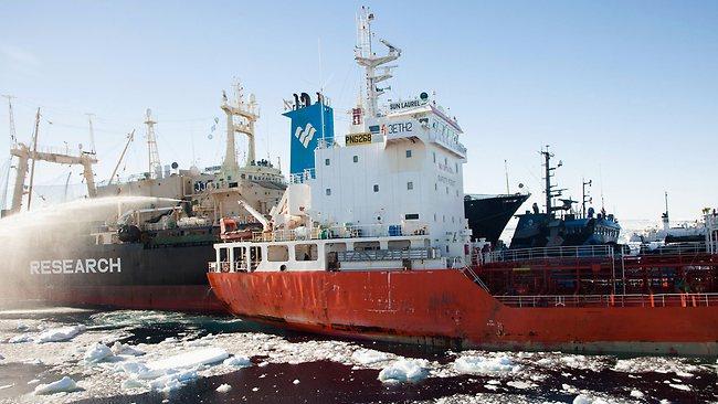 Japanese whaling vessel Nisshin Maru, left, collides with the fuel tanker Sun Laurel in waters near Antarctica. (AP Photo/Sea Shepherd Australia, Tim Watters)