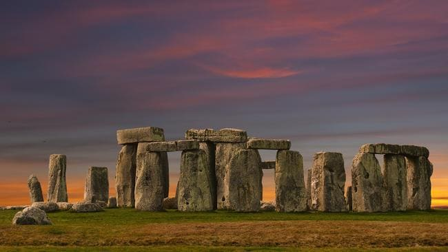 Stonehenge at sunset.
