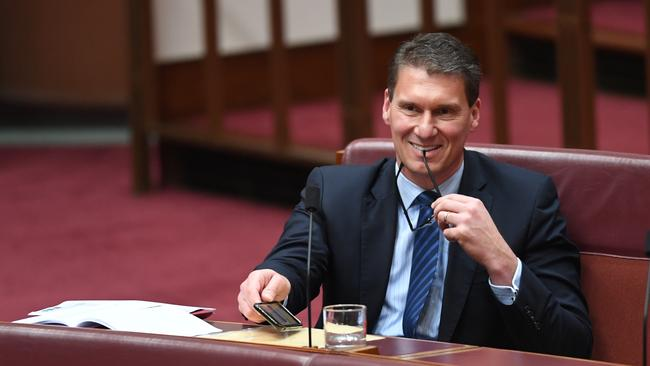 Australian Conservatives Senator Cory Bernardi moves a motion during debate in the Senate at Parliament House in Canberra on Thursday. Picture: Lukas Coch/AAP
