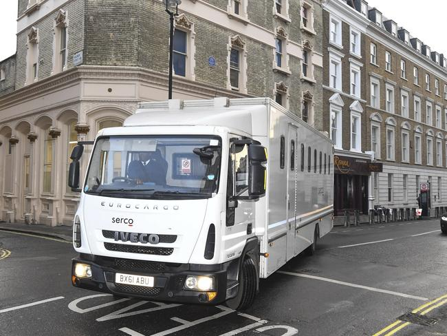 A prison van used to transport Assange from jail to court and back again. Picture: AP