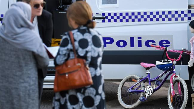 Police display the bike and a dummy during their investigation at the Blair Athol Reserve. Picture: Tom Huntley