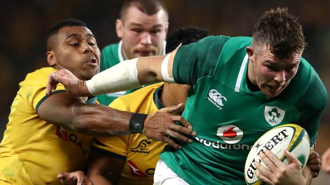 Peter O'Mahony of Ireland is tackled at Allianz Stadium.