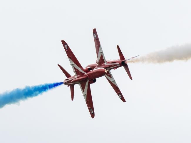 The Red Arrows (BAE Hawk) perform during the International Air Tattoo at RAF Fairford. Picture: Getty Images