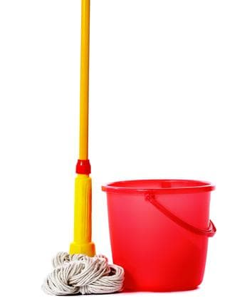 One person received a mop and bucket.