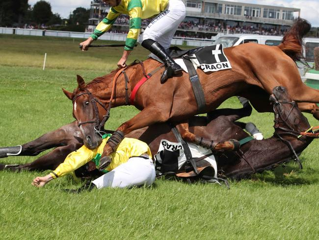 Both horses and jockeys crash to the turf. Picture: Kennedy News/Jean-Charles Briens