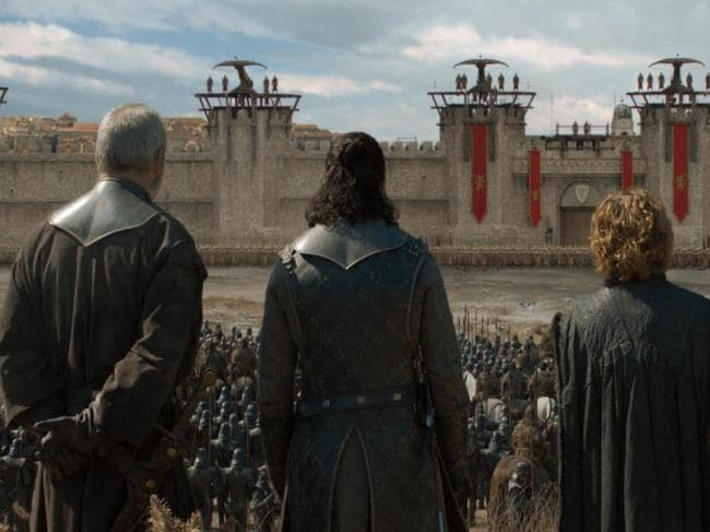 Davos, Jon Snow and Tyrion arrive at King's Landing. Picture: HBO
