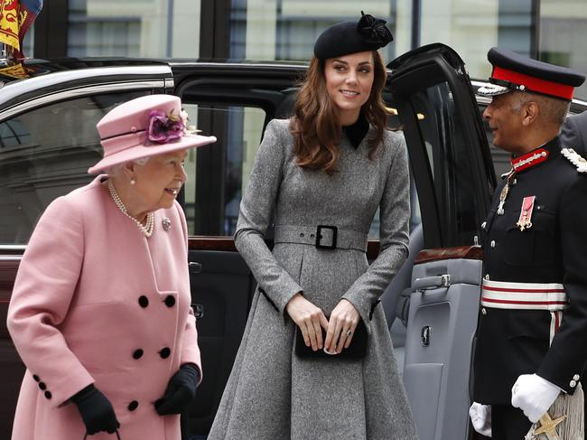 The Queen and Kate attended an event in London. Picture: AP