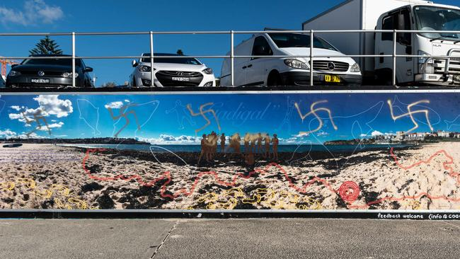 A mural at Sydney's Bondi Beach is defaced with swastikas.