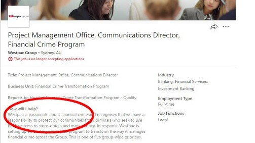Westpac will likely be hoping this ad on LinkedIn flies under the radar.