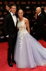 Andrew Swallow of North Melbourne and Elise Swallow arrive at the 2016 Brownlow Medal Count.