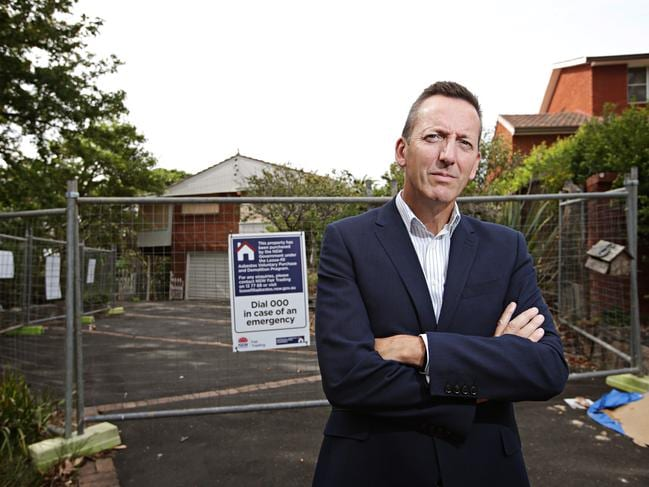 Stuart Rees out the front of his old home last year after the NSW Government bought it from him back after finding asbestos inside. Picture: Adam Yip / Manly Daily