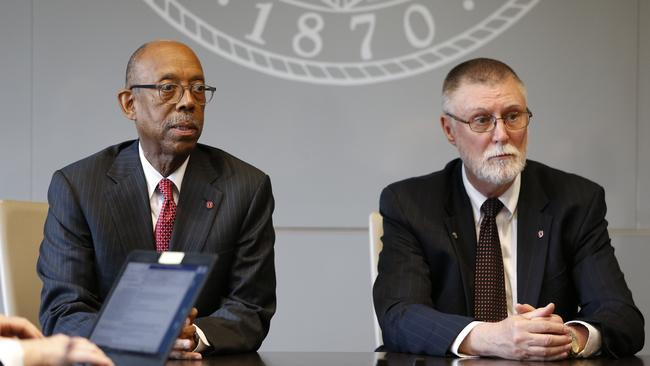 Ohio State University president Michael Drake, left, and provost Bruce McPheron answer questions. Picture: AP
