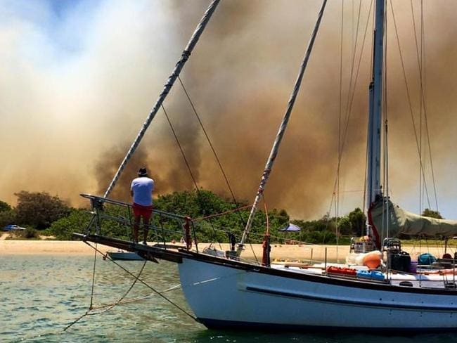 A large fire has broken out at The Spit on Queensland's Gold Coast. Picture: Discover Gold Coast