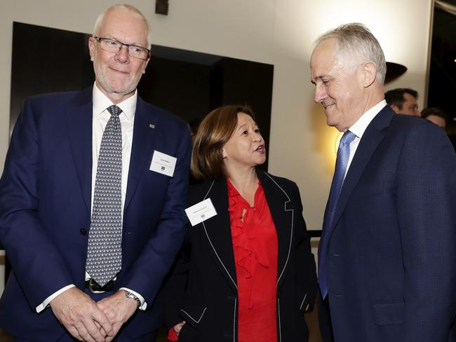 This photo of Justin Milne, Michelle Guthrie and Malcolm Turnbull was taken in mid-August. None of the three are still in their jobs. Picture: Alex Ellinghausen