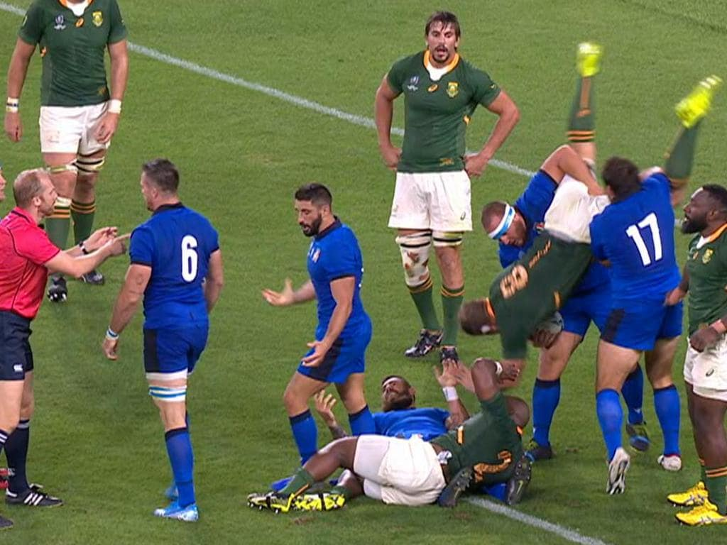 Springboks No 8 Duane Vermeulen is tipped onto his head in a shocking tip-tackle.