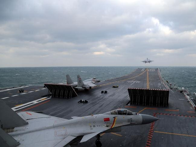 Chinese J-15 fighter jets being launched from the deck of the Liaoning aircraft carrier. The design has proven too heavy and unreliable for naval operations. Picture: AFP