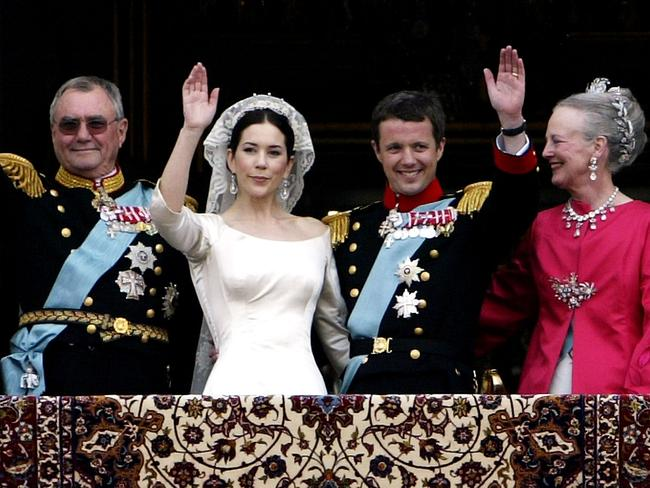 Princess Mary and Prince Frederik on their wedding day, with Queen Margrethe II and Prince Henrik. Picture: Getty Images
