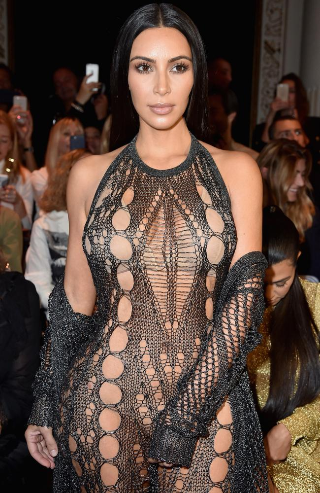 Kim Kardashian West wearing a near-naked Balmain dress. Picture: Pascal Le  Segretain