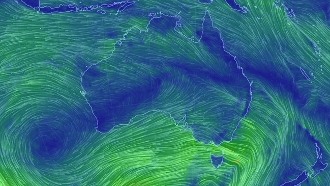 Wind maps show the gales focused on southeastern Australia. Picture: Earth School