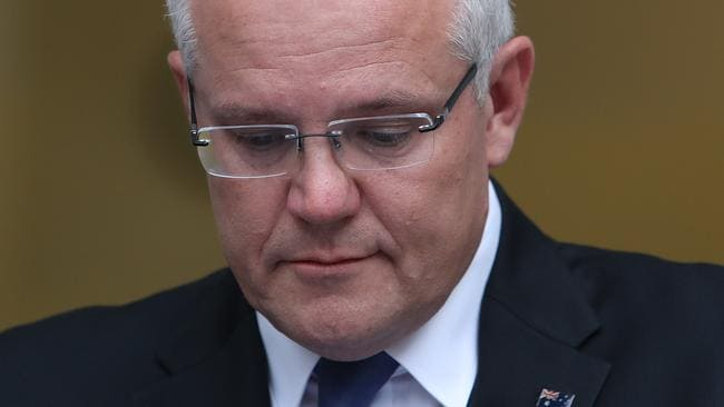 Scott Morrison grew emotional during his press conference. Picture: Kym Smith