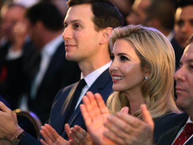 Ivanka Trump with her husband Jared Kushner (left) at the official opening of the US Embassy in Jerusalem. Picture: AFP/Gali Tibbon