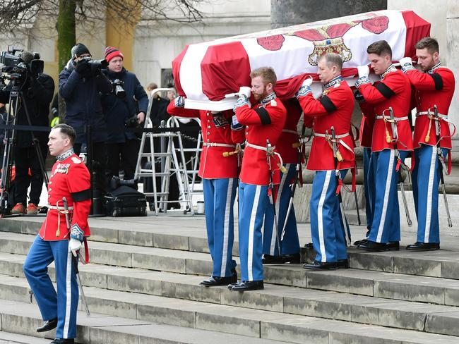 Pallbearers carry the coffin of Prince Henrik during the funeral in Copenhagen, Tuesday Feb. 20, 2018. Picture: AP