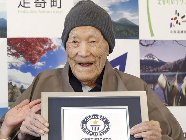 Masazo Nonaka was recognised by Guinness World Records as the world's oldest living man in April,then aged 112 years and 259. Picture: Masanori Takei/AP