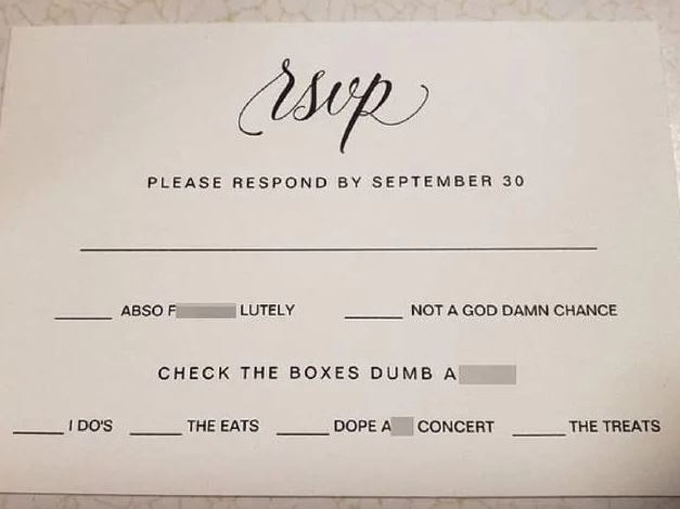 This 'trashy' RSVP went viral. Picture: Reddit